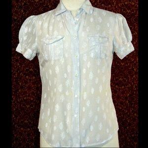GAP gray cotton silk cap sleeve button blouse 6